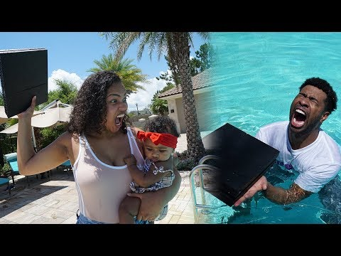 ANGRY GIRLFRIEND THROWS PLAYSTATION IN THE POOL....AGAIN!!! (PRANK GONE WRONG)