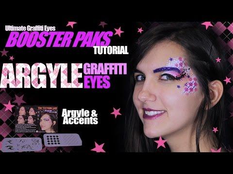 Argyle Graffiti Eye Design - stencil makeup face paint tutorial