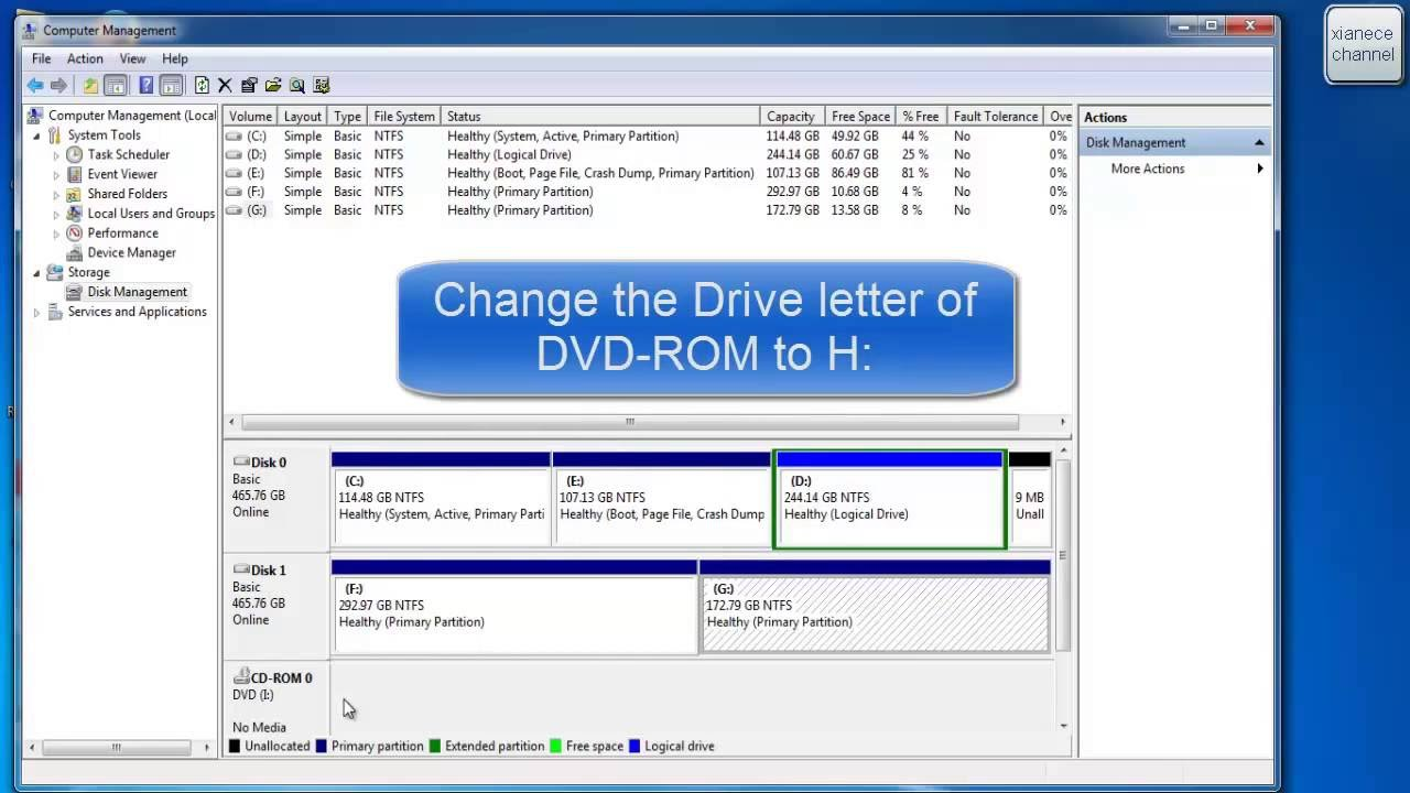 How to change drive letter of hard drive and cd rom tutorial