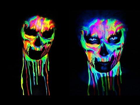 Neon Skull Black Light Uv Makeup Tutorial