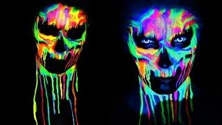 Download NEON SKULL Black Light UV Makeup Tutorial | 31 Days of Halloween Mp3 and Videos