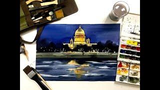 Смотреть видео Мастер-класс по акварельной живописи  «Ночной Петербург» онлайн