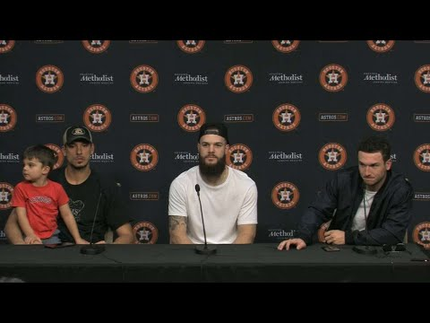 Members of the Astros talk before the big parade