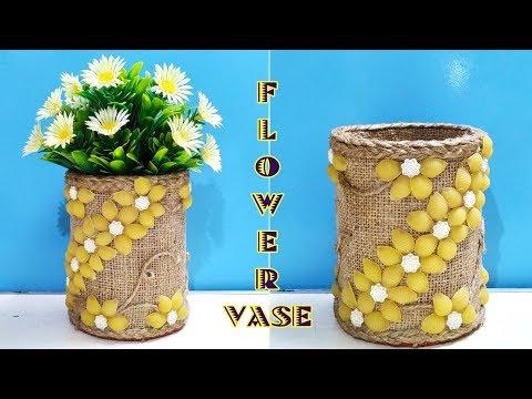 DIY, Flower Vase Making with Jute Rope and Pasta , Flower Vase Decoration Ideas , Diy vase