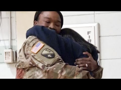 Sergeant Mom Surprises Freshman Daughter During Gym Class