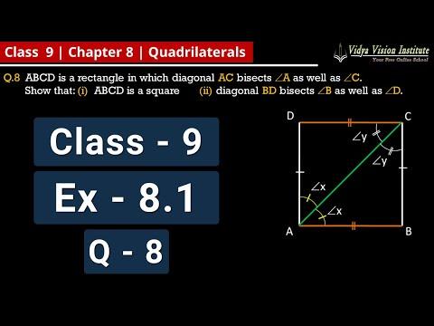 QUADRILATERALS || Part 10 - Exercise 8.1 - Q-8 || NCERT - Class 9 - Mathematics || Hindi