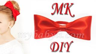 Бант резинка для волос из атласной ленты / Резинка на пучок канзаши мк/ lazo para el cabello