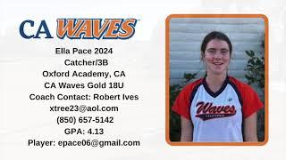 Ella Pace 2024 Catcher:3B Skills & Recruiting Video   HD 1080p