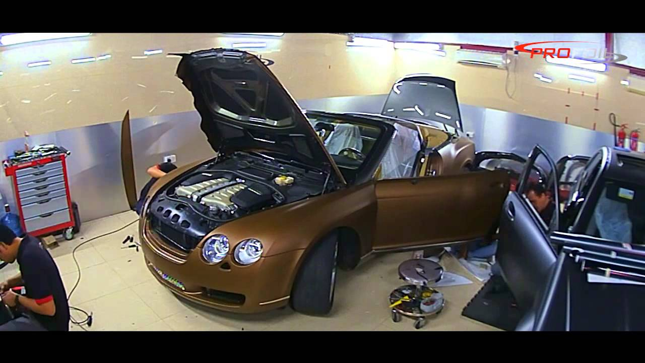 Auto Vinyl Wrap >> CAR WRAP DUBAI -- BENTLY IN BROWN METALLIC MATT DONE @ PROFOIL - YouTube