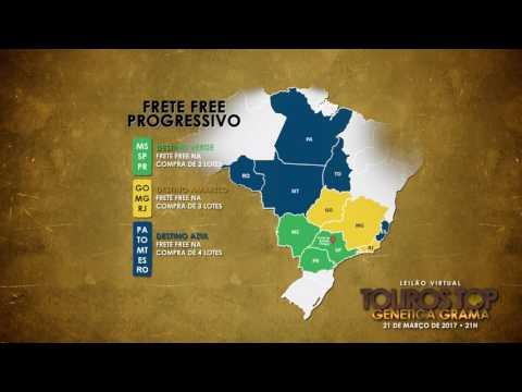 Mapa Frete FREE Leilão Touros TOP