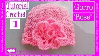 """Gorro Bebé """"Rose"""" Crochet (1)  por Maricita Colours Tutorial Gratis Ganchillo"""