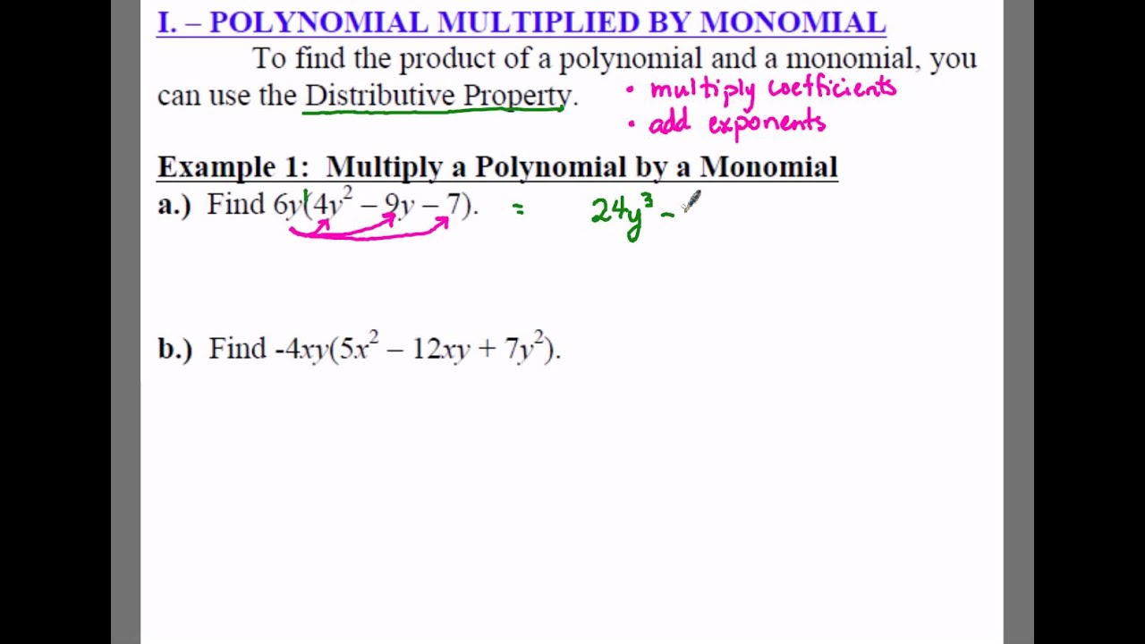 worksheet Degree Of A Monomial algebra 1 8 2 notes example multiply a polynomial by monomial