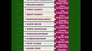 2019 Dini Günler  /  2019 dini bayramlar