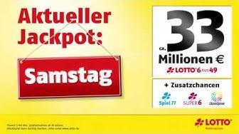 LOTTO-Jackpot: Garantierte Ausschüttung von 33 Mio. € am Samstag, 14.05.2016