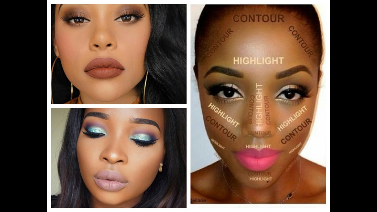 Best Makeup Looks for Black Women - Dark Skin Contouring and Highlighting  Tutorial
