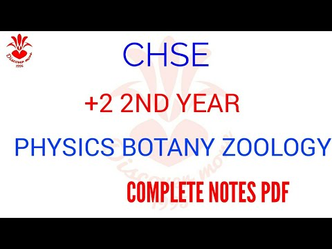 CHSE +2 2ND YEAR PHYSICS, BOTANY & ZOOLOGY COMPLETE NOTES PDF