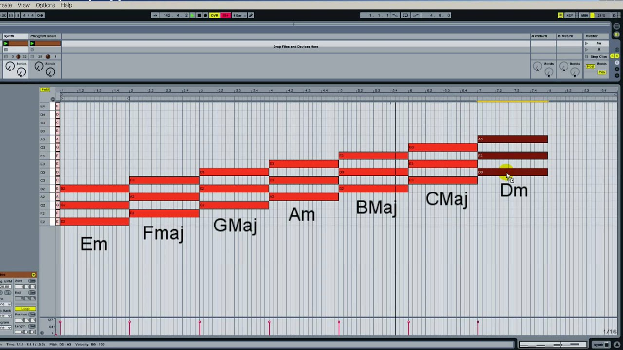 How to create the Phrygian mode and harmonize it with the correct chords in Ableton Live - YouTube