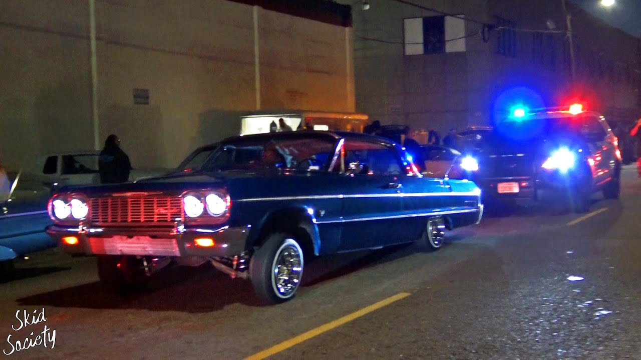 Cops Crash the Party! Lowrider Cruise in Los Angeles, California