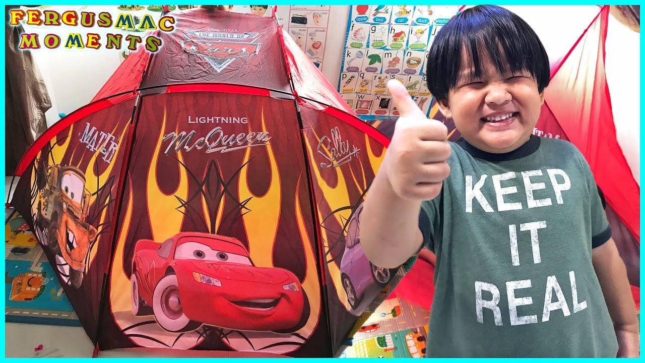 Disney Cars Lightning McQueen Kids Easy C& Tent  sc 1 st  YouTube & Disney Cars Lightning McQueen Kids Easy Camp Tent - YouTube