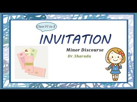 Invitation Preparation / Minor discourse / English / class VI - X / Dr. Sharada