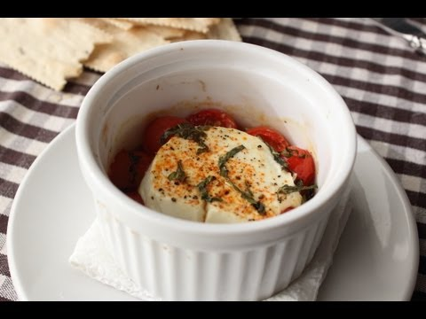 "Baked Goat Cheese ""Caprese"" - Goat Cheese Baked with Tomatoes and Basil"
