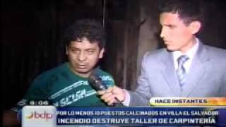 Incendio en carpintería de Villa El Salvador