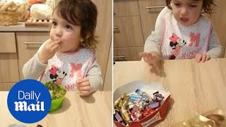Adorable girl refuses chocolates and devours BROCCOLI!