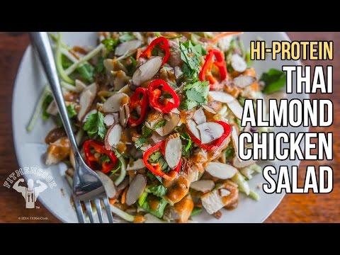 Hi-Protein Thai Almond Chicken Salad / Ensalada Tailandesa de Pollo y Almendras