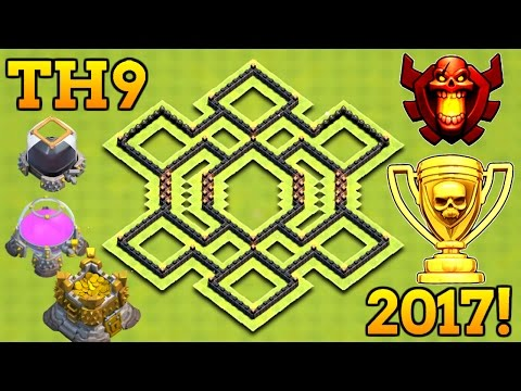 EPIC TH9 HYBRID BASE 2017 | TOWN HALL 9 TROPHY / FARMING BASE 2017 WITH BOMB TOWER!