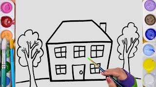 Drawing and Coloring a Glitter House Coloring Pages with Paint for Kids