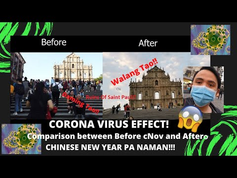Macau Corona Virus Effect - Before and After Walk from Senado Square to Ruins of Saint Paul.