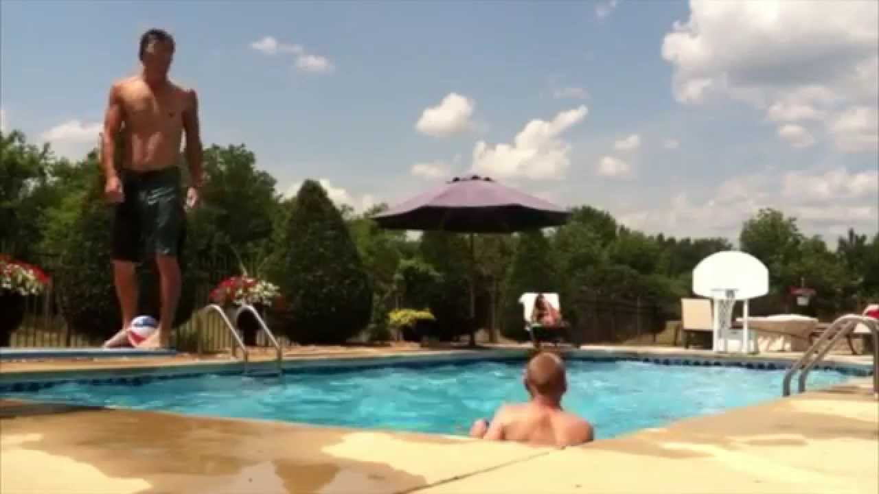 Amazing diving board backflip basketball trick shot youtube for Swimming pool diving board tricks