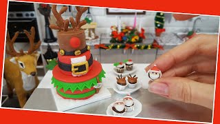 Mini but real CHRISTMAS cake with mini real cupcakes / Jenny's mini cooking / Reindeer cake