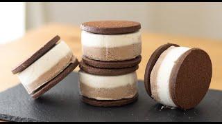 ティラミス風クッキーサンドアイスの作り方 Tiramisu Ice Cream Sandwich HidaMari Cooking