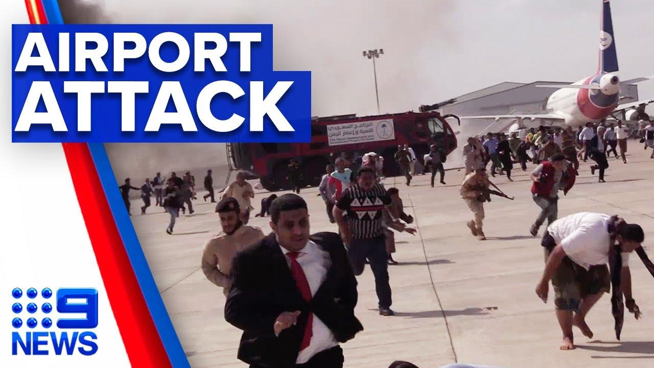 Yemen airport explosion in alleged government attack | 9 News Australia
