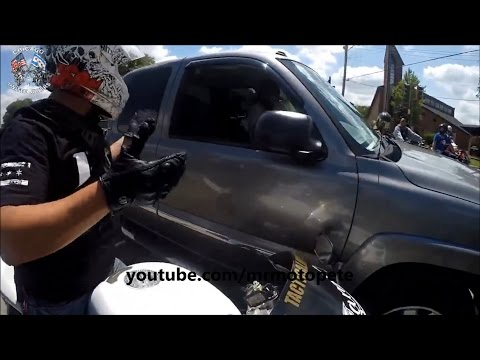 Truck Chases Down Bikers And Runs Over A Motorcycle!  Road Rage 2016