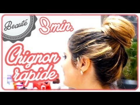 Faire un chignon rapide - Tuto coiffure 3 minutes ! #Beauté - YouTube