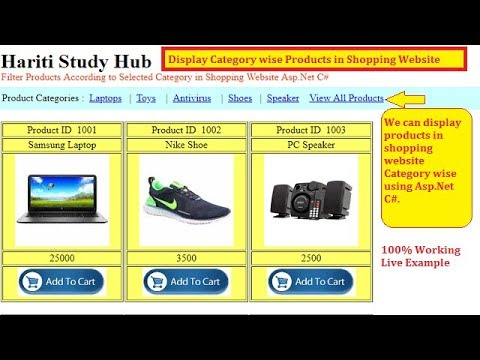 #9 Display Category Wise Products in Shopping Website with Asp.Net C# | Hindi | Free Online Classes