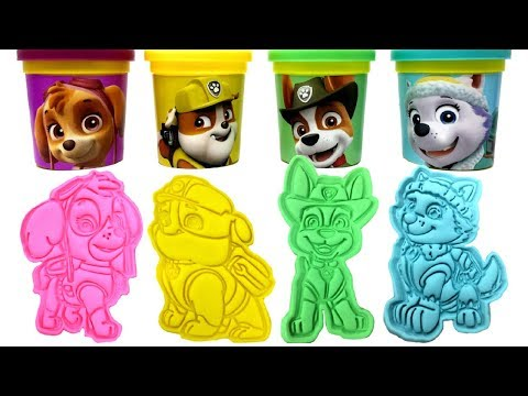 Paw Patrol Play-Doh Molds & Surprise Toys Skye Rubble Tracker Everest Rider Marshall