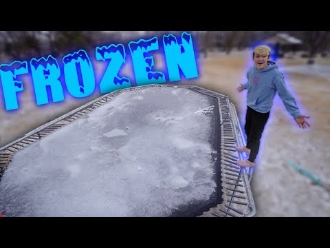 SHATTERING THE WORLDS BIGGEST FROZEN TRAMPOLINE!