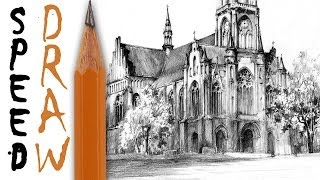 How To Draw Architecture (zoom And Details) - Neogothic Church Speed Drawing