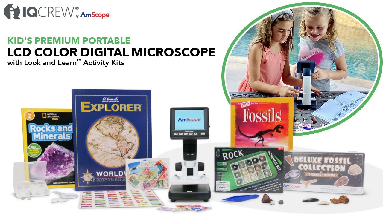 IQCREW by AmScope Kid's Portable LCD Color Digital Microscope with Look and Learn™ Activity Kit