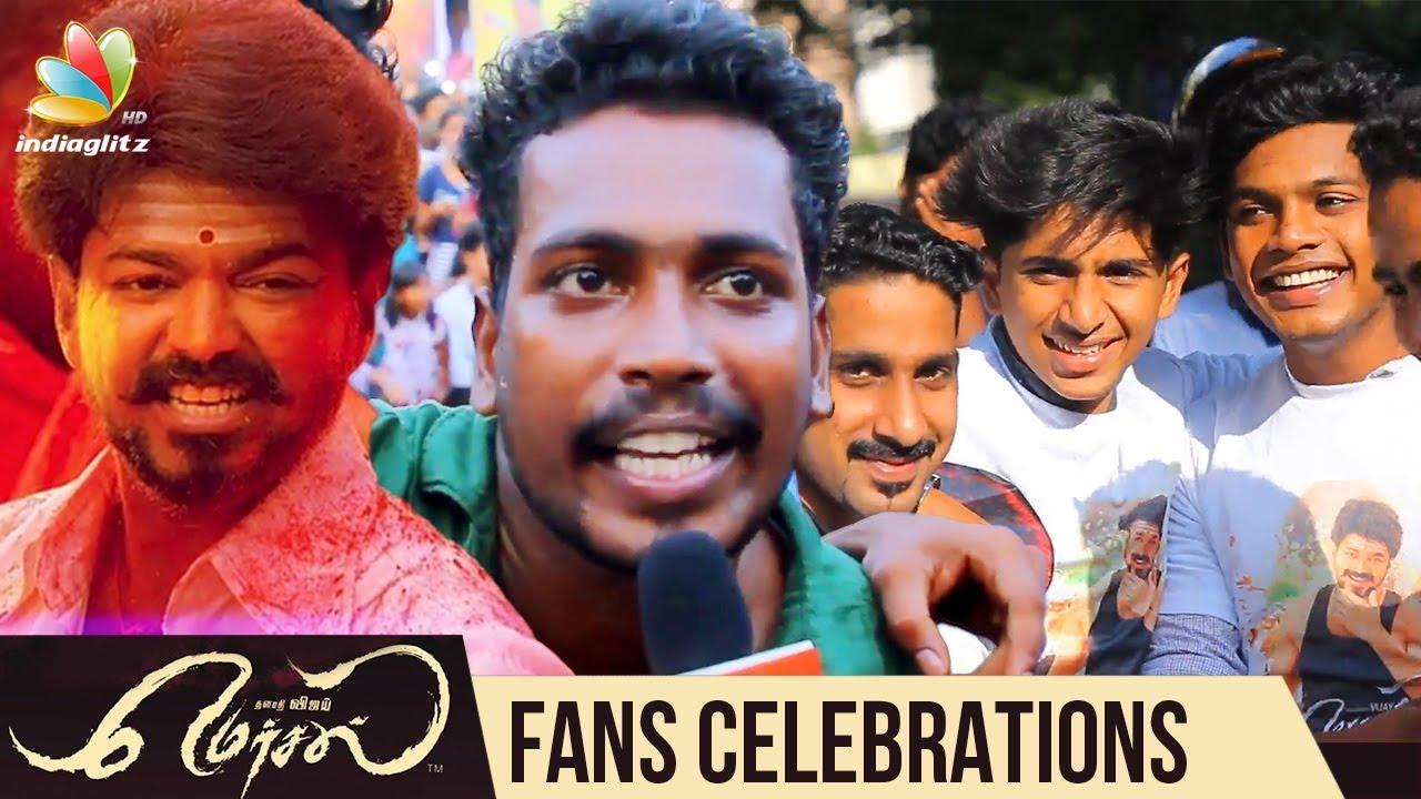 കേരളത്തിലെ  ദീപാവലി   മെർസലാണ് : Vijay Fans celebrate Diwali With   Mersal