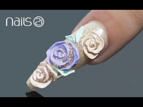 Emboss 3d Roses Relevo Nail Art Youtube