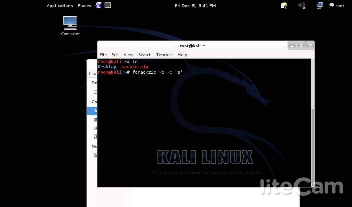 How to crack secure zip file with fcrack