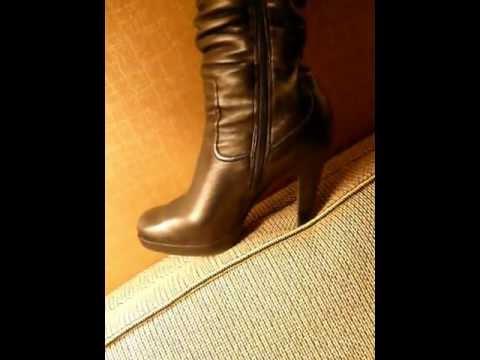 Yana Black Leather Otk High Heel Boots Trampling And