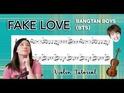 """Fake Love"" - BTS (방탄소년단) EASY VIOLIN TUTORIAL (w/Sheet Music)"