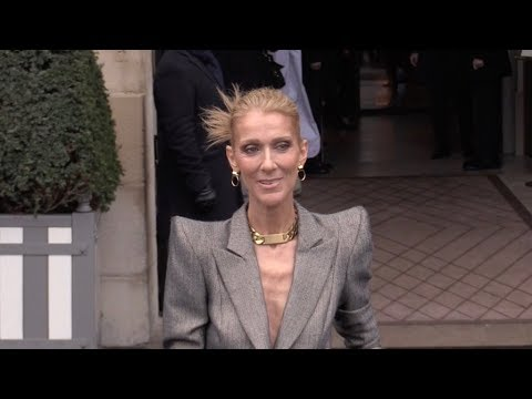 EXCLUSIVE : Very thin Celine Dion and Pepe Munoz going to the Netherlands embassy in Paris