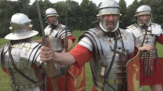 Roman kit: featuring armour, swords, spears, artillery, rations, deckchairs, and of course shoes.
