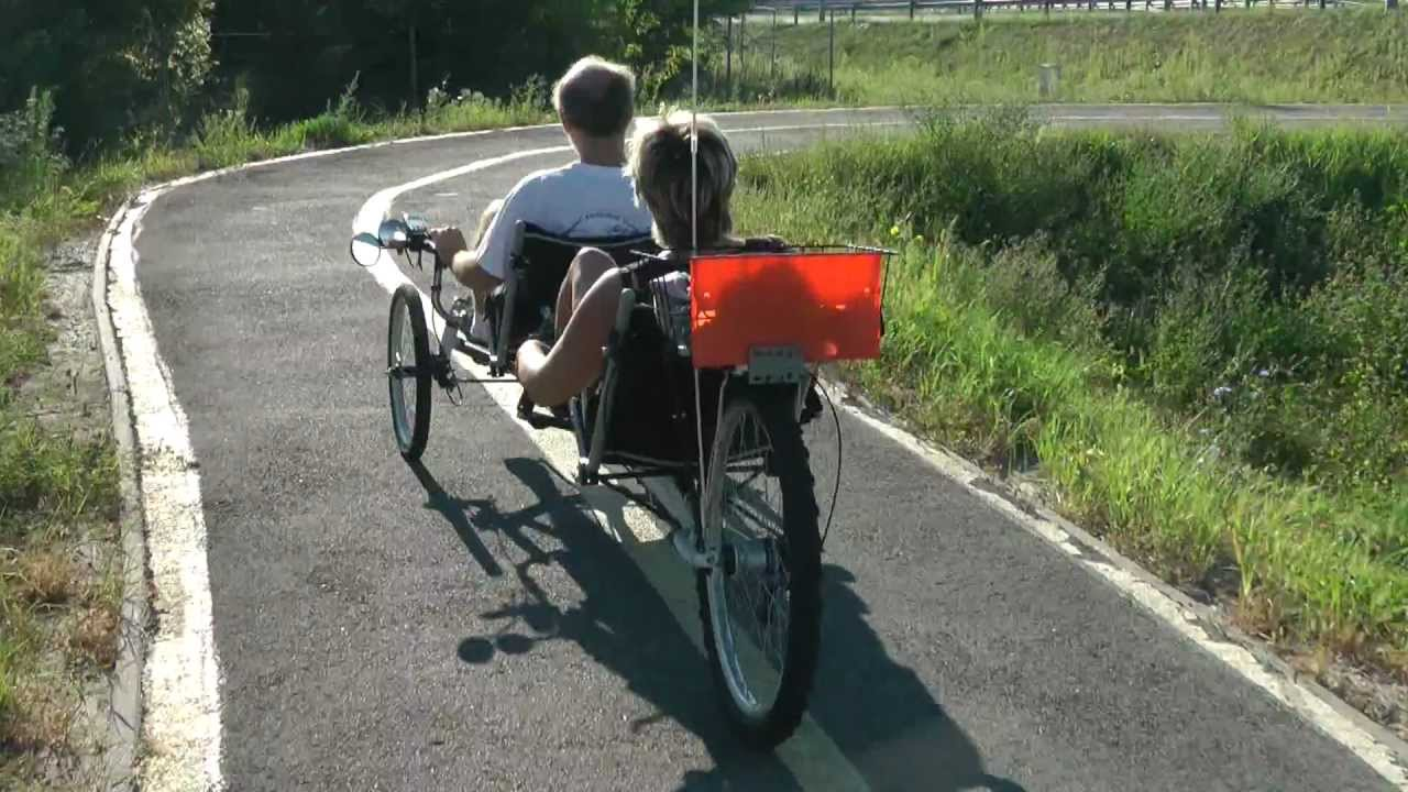 Best Electric Bicycle >> Recumbent tandem trike 02 - trike01.wmv - YouTube